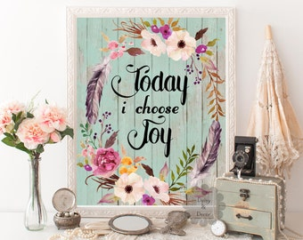 Today I choose joy quote printable wall art decor home decor inspirational quote calligraphy poster printable wall art typography print art