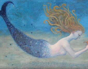 "Signed A5 Limited Edition Giclee Print ""Mermaid"" from an original oil painting. By Laura Robertson"