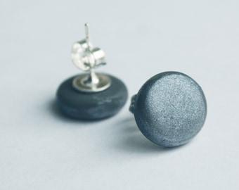 Gunmetal Grey Stud Earrings, Silver Post Earrings, Modern Jewelry, Simple Studs, Titanium hypoallergenic