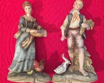 Lefton Farm Couple Bisque Porcelain Hand-Painted Figurines