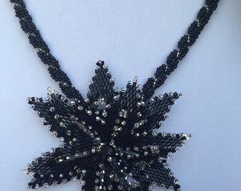 Beaded Flower Necklace, Elegant Necklace, Seed Bead Necklace, Black Flower Necklace
