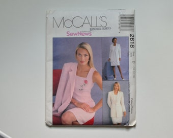 McCalls Sew News 2618 Women's dress and jacket pattern. Size D 12-16. New unopened uncut pattern for Crepe, Linen, Gabardine, Wool, shantung