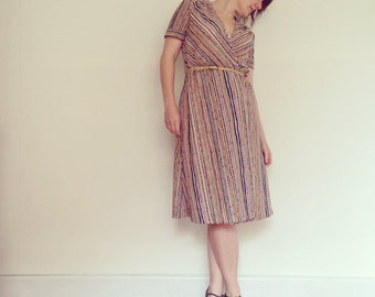 Vintage Dress / Multi-Coloured Stripe Wrap / 1970s