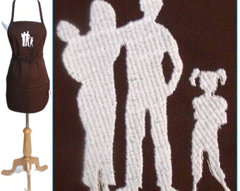 New Family Blended Family Wedding Gift Family of Four Silhouette Apron Custom Monogrammed Embroidered