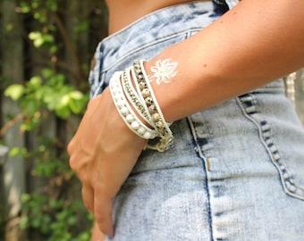 Trending, Leather wrap Bracelet, Turquoise Beaded Bracelet, 3 Wrap Bracelet, Turquoise Leather Wrap Bracelet, 3 wrap bracelet