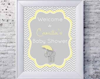 Baby Shower Welcome Sign printable - custom, yellow, grey, chevron, elephant, personalised