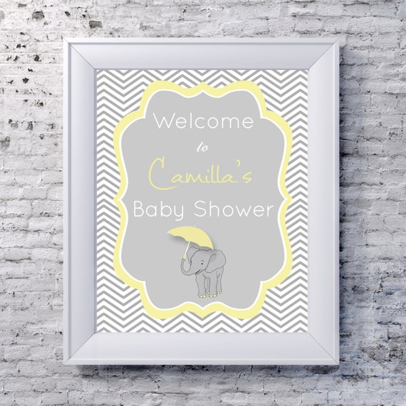 baby shower welcome sign printable custom yellow grey chevron