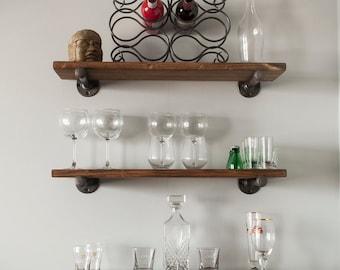 Floating Industrial Pipe Shelves - Set of 3 Shelves