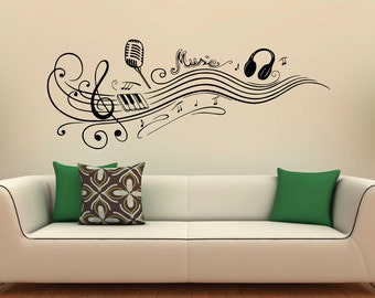Music Wall Decal Etsy - wall design vinyl stickers