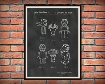Patent 1986 Lego Crocodile - Wall Art Print -Game Patent -Toy Building Brick Patent for Child - Childrens Room Art