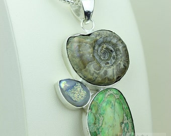 GENUINE AUSTRALIAN SANMARTINOCERAS Ammonite 925 Solid Sterling Silver Pendant + 4mm Snake Chain & Free Worldwide Shipping mp456