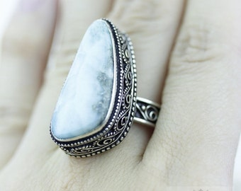 SIZE 7.5 Triangle Cut Larimar 925 S0LID (Nickel Free) Sterling Silver Vintage Setting Ring & FREE Worldwide Express Shipping r1761