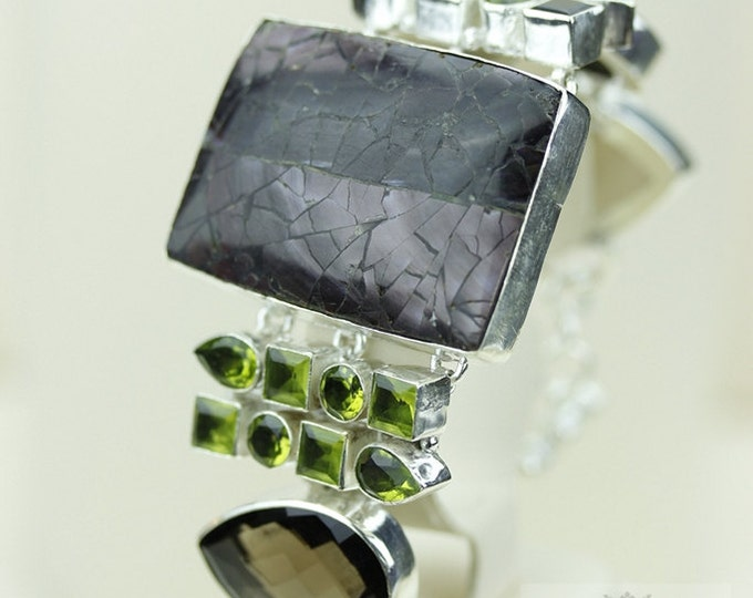 Large Checkerboard SHELL Smokey Topaz Peridot 925 S0LID Sterling Silver Bracelet & FREE Worldwide Express Shipping B691