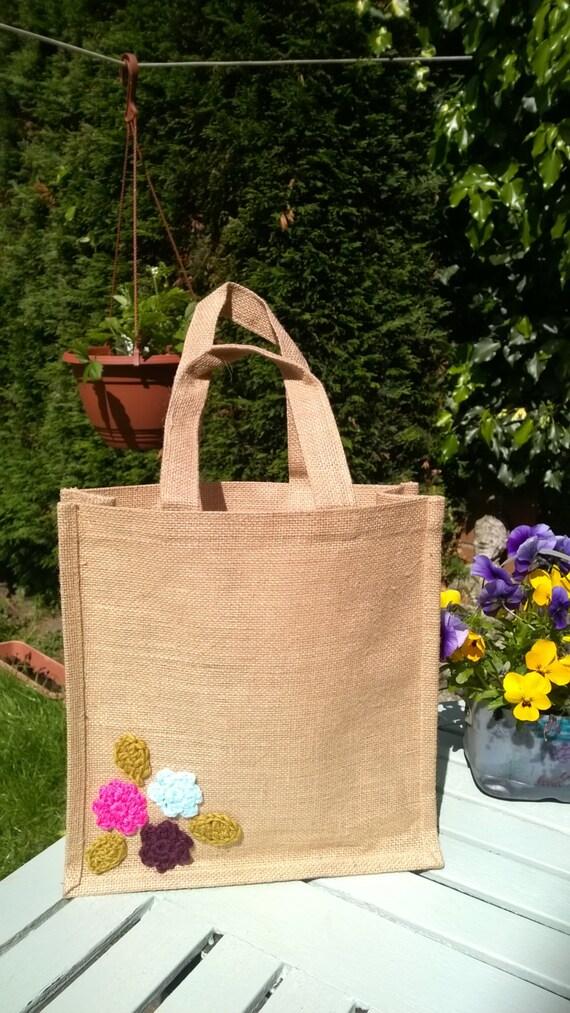 Jute tote hessian bag crochet jute bag by HandmadebyCCxx ...
