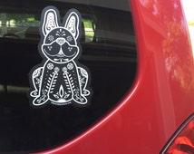French Bulldog Decal - Sugar Skull Frenchie Decal - French Bulldog Sticker - Frenchie Bumper Sticker - Frenchie Car Decal