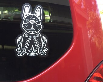 French Bulldog Decal - Sugar Skull Frenchie Decal - French Bulldog Sticker - Frenchie Bumper Sticker - Frenchie Car Decal