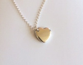 Sterling silver heart pendant/solid silver heart/hallmarked silver heart necklace/silver heart