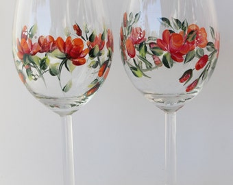 Hand Painted Wine Glasses  Red Orange Rose