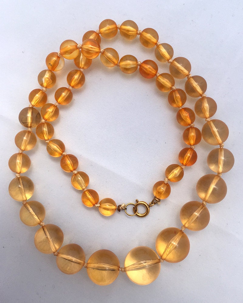 Amber Graduated Lucite Bead Necklace Hand Knotted