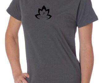 Yoga Clothing For You Ladies Shirt Black Namaste Lotus Organic Tee Shirt = LPC150ORG-BNLOTUS