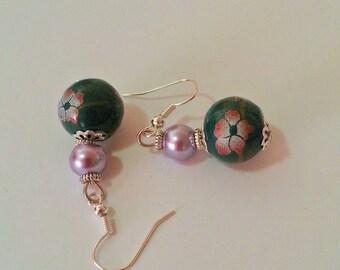 Deep green and mauve vintage earrings