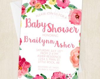 Floral Watercolor Baby Shower Invitation - Pink, Yellow, Deep Pink - Watercolor - Digital/Printable File