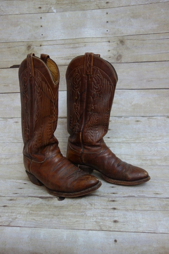 tony lama cowboy boots brown with white by junglepartyhouse