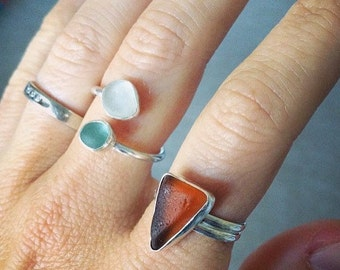 Sea Glass Ring - Custom Made to Order - Single or Double Seaglass Ring