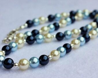Pearl Necklace, Swarovski Crystal Pearls, beautiful blues, wedding bridal jewellery, handmade.