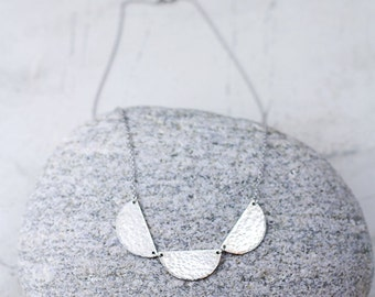 Textured Sterling Silver Necklace / Scalloped Necklace / Hammered Necklace