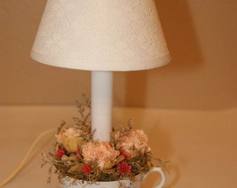 Teacup Lamp with Roses