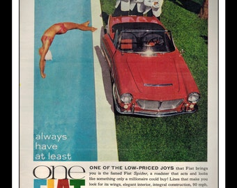 """Vintage Print Ad June 1962 : Fiat Spider Roadster """"One Fiat"""" Cars Wall Art Decor 8.5"""" x 11"""" Advertisement"""