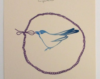 Blue bird and fingerknitting. Limited edition screenprint by Catherine Cartwright