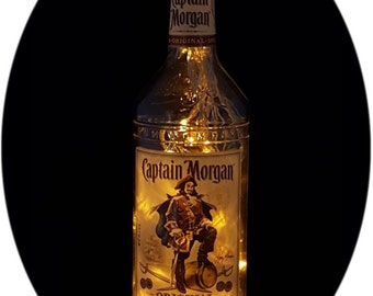 Upcycled Captain Morgan Mood Therapy Liquor Bottle Light w/Gold LEDs