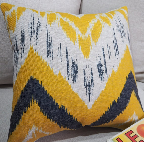 Ikat Throw Pillows Etsy : Ikat Pillow Covers Pillow Cover Yellow Pillow by HomeDecorYi
