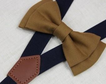 Dark khaki/sienna  bowties,BOWTIE SUSPENDER SET,navy blue suspenders,infant bowties,toddler bowtie,boy bowtie,men bowties,wedding bowtie