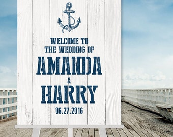 Nautical Wedding Welcome Sign / Nautical Sign, Navy Anchor / Nautical Planks / Nautical Welcome ▷ Printable File {or} Printed & Shipped