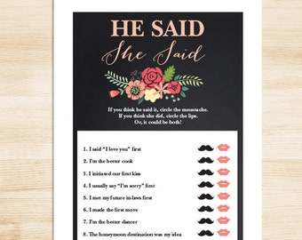 Rustic Bridal Shower Game DIY // Coral Flower on Chalkboard // He Said, She Said Printable PDF // Wedding Shower Game ▷ Instant Download