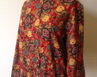 Vintage Red Paisley Peplum Blouse - UK Size 14 (US Size 10)