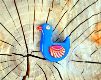 Blue charming brooch bird Polymer clay Jewelry bird painted with acrylic paints Animal Brooch Duck brooch FREE SHIPPING