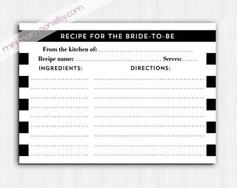 Stripes Recipe card, black and white recipe card, simple recipe card, modern recipe card, printable recipe card, digital, bride to be, black