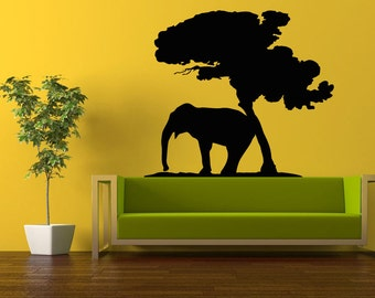 African Tree Decal Etsy - Wall decals animalsafrican savannah wall sticker decoration great trees with