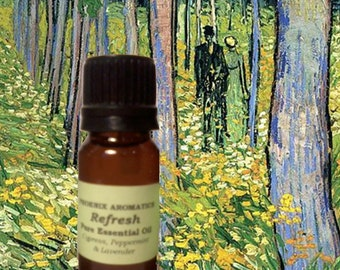 Refresh Essential Oil Blend Room Fragrance for Oil Burners, Diffusers, Lavender, Cypress, Peppermint, Fresh scent