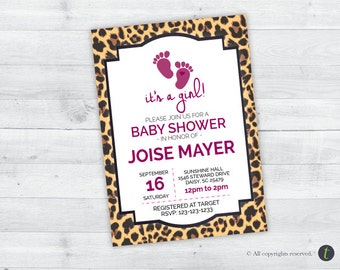 Cheetah Print Baby Shower Invitation