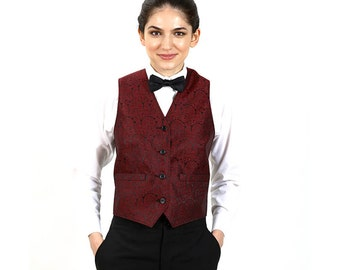 Women's Burgundy Synphony Jacquard Vest