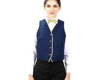 Women's Navy Blue Full Back Vest With Gold Trim