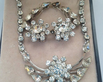 Vintage Rhinestone Necklace and Clip On Earring Demi Parure Set in Box