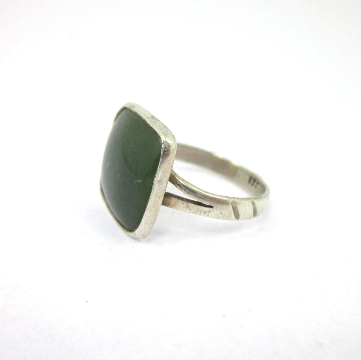 square gemmy jade ring sterling silver by thestoneworkshop