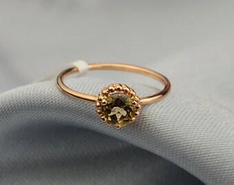 Green Tourmaline Ring in 18k Rose Gold Engagement Wedding Birthday Anniversary Valentine's