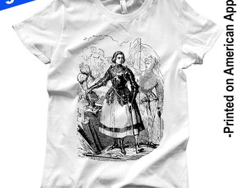 Women's Jeanne d'Arc American Apparel T-shirt S-XXL Joan of Arc, Feminist, French, War, Witch, Vintage Engraving, Enlightenment, Cool Gift!